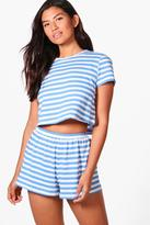 Boohoo Lily Stripe Tee + Short PJ Set