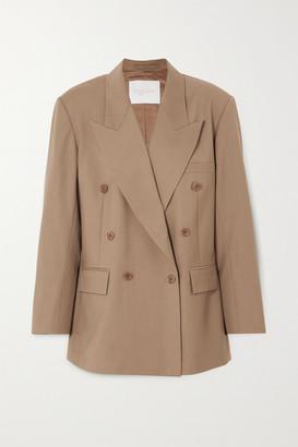 ENVELOPE1976 Girona Oversized Double-breasted Wool-crepe Blazer - Beige