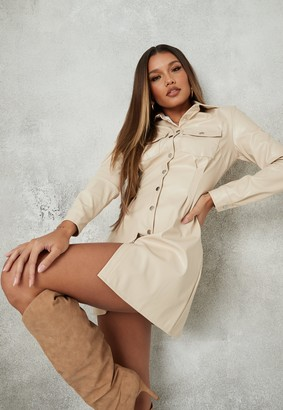 Missguided Cream Faux Leather Pleat Waist Shirt Dress