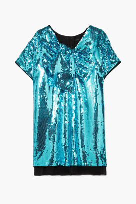 Marc Jacobs Satin-paneled Bow-embellished Sequined Georgette Mini Dress