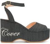 Undercover micro-stripe logo print wedge sandals