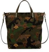 Valentino Men's Insect-Embroidered Camo Tote Bag, Green