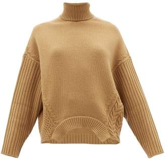 Golden Goose Roll-neck Cable-knit Wool Sweater - Womens - Camel