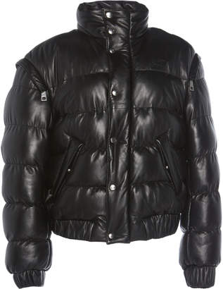 Common Leisure All Time Hooded Quilted Leather Jacket