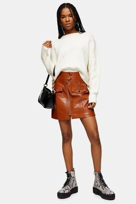 Topshop Womens Tan Crocodile Zip Pu Mini Skirt - Tan
