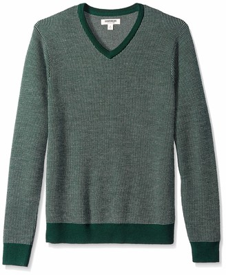 Goodthreads Amazon Brand Men's Lightweight Merino Wool V-Neck Birdseye Sweater
