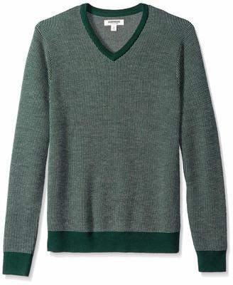 Goodthreads Men's Merino Wool V-neck Birdseye jumper Sweatshirt