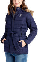 U.S. Polo Assn. Evening Blue Faux Fur Belted Hooded Puffer Coat