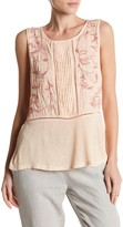 Lucky Brand Embroidered Mix Tank