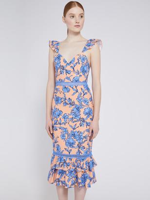 Alice + Olivia Jade Floral Ruffle Midi Dress