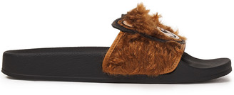 Moschino Appliqued Faux Fur Slides