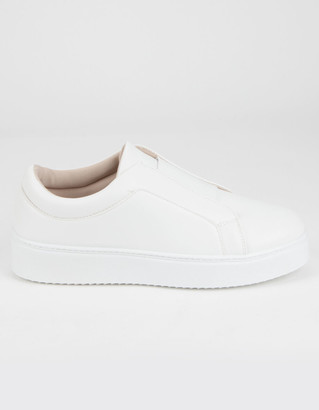 Qupid Elastic Womens White Slip-On Shoes