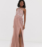 Maya Maternity embellished dobby mesh maxi dress in mauve