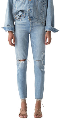 AGOLDE Jaime High-Rise Classic Jeans with Rip