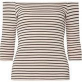 Dorothy Perkins Womens Petite Blush And Black Striped Bardot Top- Pink