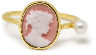 Vintouch Italy Pink Mini Cameo & Pearl Ring