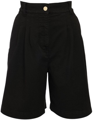 Alberta Ferretti High Waist Cotton Bull Shorts