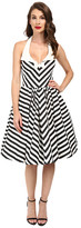 Unique Vintage Chevron Stripe Halter Skipper Swing Dress