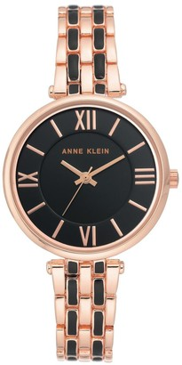 Anne Klein Womens Rosetone and Black Bracelet Watch