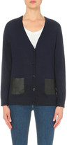 The Kooples Leather-pocket wool cardigan