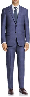 Hart Schaffner Marx Medium Blue Plaid Two Button Notch Lapel Wool New York Fit Suit