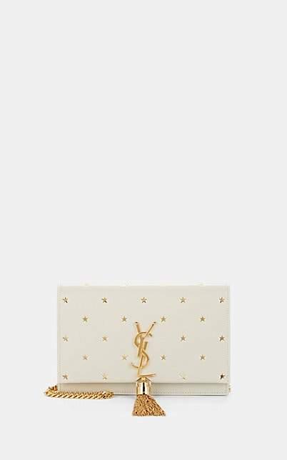 Saint Laurent Women's Monogram Kate Star-Print Leather Chain Wallet - White