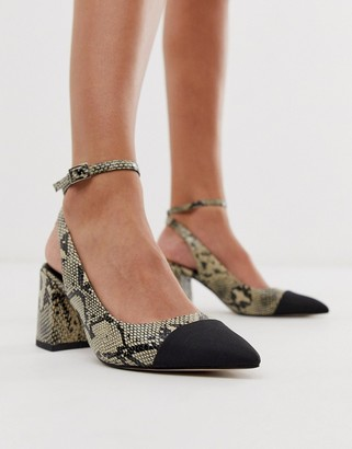 Asos Design DESIGN Squire pointed mid-heels in natural snake-Multi