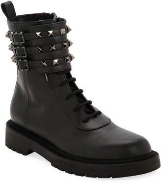 Valentino Garavani Tri-Band Rockstud Combat Boots