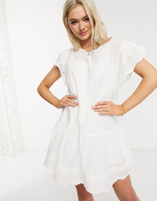 Cleobella eleanor embroidered smock mini dress in ivory