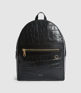 Reiss Ethan - Leather Croc Embossed Backpack in Black
