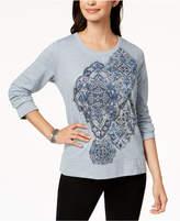 Style&Co. Style & Co Long-Sleeve Metallic-Graphic Sweatshirt, Created for Macy's