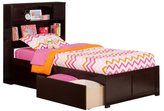 Atlantic Newport Espresso Twin XL Flat-panel Footboard 2-drawer Bed