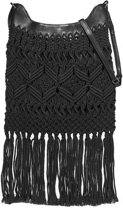 Isabel Marant Teomia Leather-trimmed Fringed Macrame Shoulder Bag