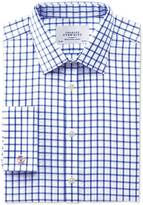 Charles Tyrwhitt Extra slim fit non-iron twill grid check royal blue shirt