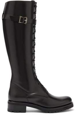 Rupert Sanderson Duncan Lace Up Leather Knee High Boots - Womens - Black