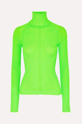 Acne Studios Komina Neon Ribbed-knit Turtleneck Sweater - Lime green