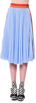 MSGM Pleated Colorblock Midi Skirt, Blue