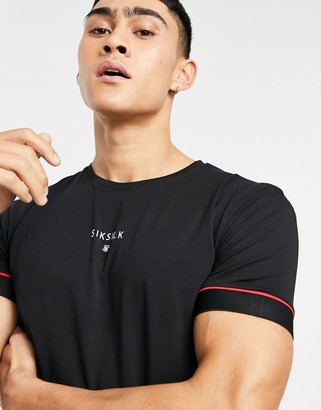 SikSilk Imperial raglan muscle fit gym T-shirt in black