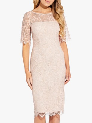 Adrianna Papell Maria Lace Sheath Dress, Ivory/Nude