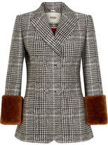 Fendi Shearling-trimmed Prince Of Wales Checked Wool And Silk-blend Blazer - Gray