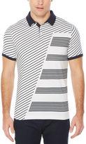 Perry Ellis Dual-Grain Striped Pima Cotton Polo