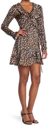 14th Place Leopard Ruffle Wrap Dress