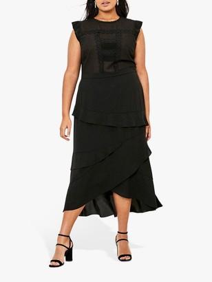 Oasis Curve Lace Midi Dress, Black