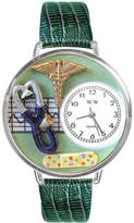 Whimsical Watches Personalized Nurse Womens Silver-Tone Bezel Green Leather Strap Watch
