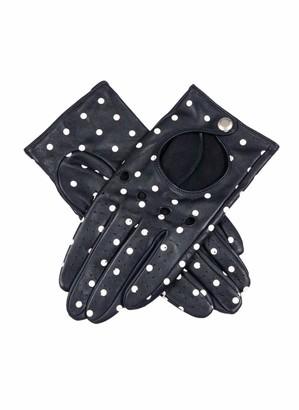 Dents Imogen Women's Polka Dot Leather Driving Gloves NAVY/WHITE 7