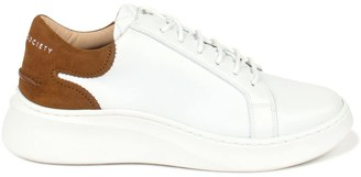 Crafted Society Matteo Low Sneaker - White & Brown Full Grain Leather / White Outsole