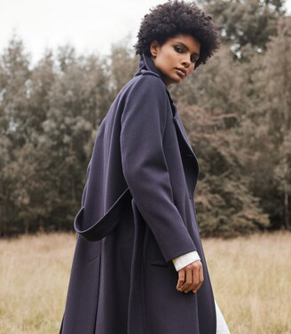 Reiss Sian - Wool Blend Trench Coat in Navy