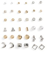 BP Women's 18-Pack Geometric Stud Earrings