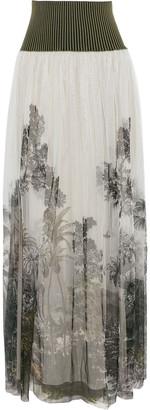 Alberta Ferretti Ribbed Knit-paneled Printed Tulle Maxi Skirt