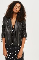 Topshop Women's Rosemary Leather Biker Jacket